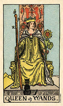 Queen of Staves Tarot Card - Smith Waite Centennial Tarot Deck