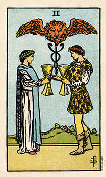 Two of Hearts Tarot Card - Smith Waite Centennial Tarot Deck