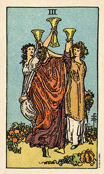 Three of Hearts Tarot Card - Smith Waite Centennial Tarot Deck