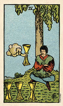 Four of Hearts Tarot Card - Smith Waite Centennial Tarot Deck