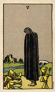 Five of Cauldrons Tarot Card - Smith Waite Centennial Tarot Deck