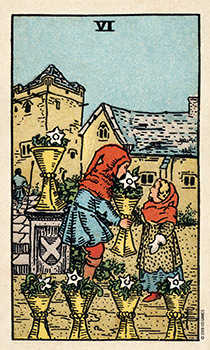 Six of Hearts Tarot Card - Smith Waite Centennial Tarot Deck