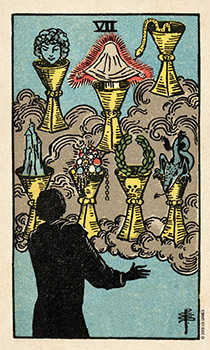 Seven of Ghosts Tarot Card - Smith Waite Centennial Tarot Deck