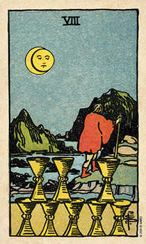 Eight of Cauldrons Tarot Card - Smith Waite Centennial Tarot Deck