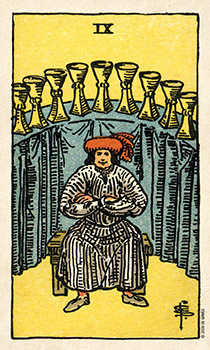 Nine of Bowls Tarot Card - Smith Waite Centennial Tarot Deck