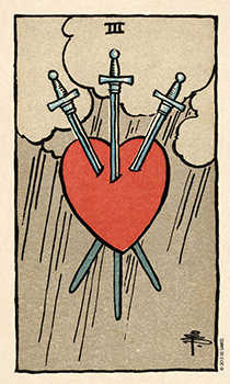 Three of Swords Tarot Card - Smith Waite Centennial Tarot Deck
