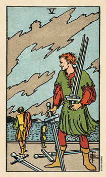 Five of Spades Tarot Card - Smith Waite Centennial Tarot Deck