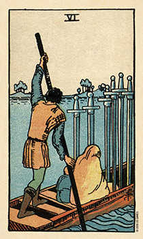 Six of Swords Tarot Card - Smith Waite Centennial Tarot Deck