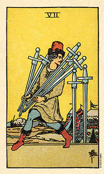 Seven of Swords Tarot Card - Smith Waite Centennial Tarot Deck