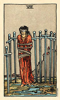 Eight of Arrows Tarot Card - Smith Waite Centennial Tarot Deck