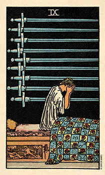 Nine of Arrows Tarot Card - Smith Waite Centennial Tarot Deck