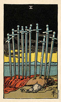 Ten of Arrows Tarot Card - Smith Waite Centennial Tarot Deck