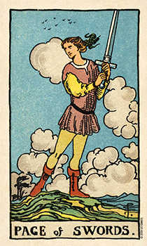 Page of Spades Tarot Card - Smith Waite Centennial Tarot Deck
