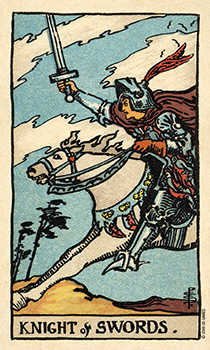Cavalier of Swords Tarot Card - Smith Waite Centennial Tarot Deck