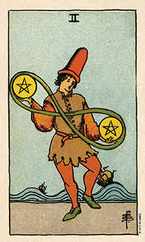 Two of Coins Tarot Card - Smith Waite Centennial Tarot Deck