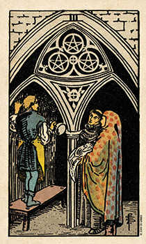 Three of Discs Tarot Card - Smith Waite Centennial Tarot Deck
