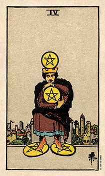 Four of Discs Tarot Card - Smith Waite Centennial Tarot Deck