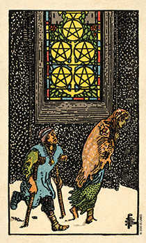 Five of Discs Tarot Card - Smith Waite Centennial Tarot Deck
