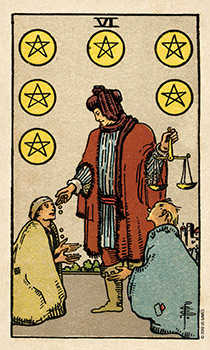 Six of Coins Tarot Card - Smith Waite Centennial Tarot Deck