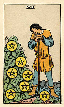 Seven of Coins Tarot Card - Smith Waite Centennial Tarot Deck