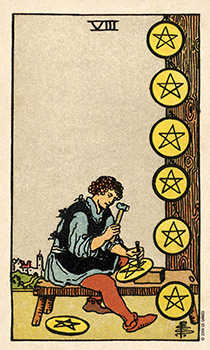Eight of Discs Tarot Card - Smith Waite Centennial Tarot Deck
