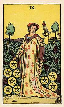 Nine of Coins Tarot Card - Smith Waite Centennial Tarot Deck