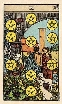 Ten of Stones Tarot Card - Smith Waite Centennial Tarot Deck