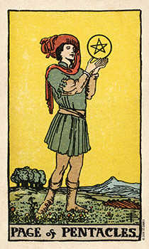 Valet of Coins Tarot Card - Smith Waite Centennial Tarot Deck
