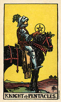Cavalier of Coins Tarot Card - Smith Waite Centennial Tarot Deck