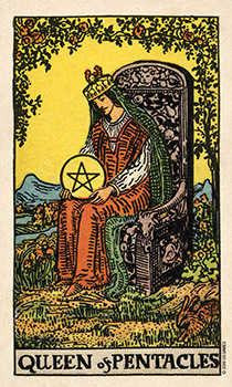 Queen of Coins Tarot Card - Smith Waite Centennial Tarot Deck