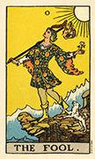 The Fool Tarot card in Smith Waite Centennial deck