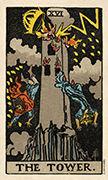 The Tower Tarot card in Smith Waite Centennial Tarot deck