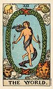 The World Tarot card in Smith Waite Centennial deck