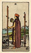 Two of Wands Tarot card in Smith Waite Centennial deck