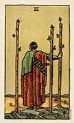Three of Wands Tarot card in Smith Waite Centennial deck