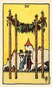 Four of Wands Tarot card in Smith Waite Centennial deck