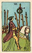 Six of Wands Tarot card in Smith Waite Centennial deck