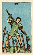 Seven of Wands Tarot card in Smith Waite Centennial Tarot deck
