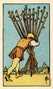 Ten of Wands Tarot card in Smith Waite Centennial deck