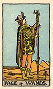 Page of Wands Tarot card in Smith Waite Centennial Tarot deck