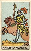 Knight of Wands Tarot card in Smith Waite Centennial deck