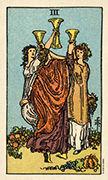 Three of Cups Tarot card in Smith Waite Centennial deck