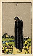 Five of Cups Tarot card in Smith Waite Centennial deck