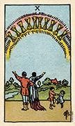 Ten of Cups Tarot card in Smith Waite Centennial deck