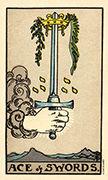 Ace of Swords Tarot card in Smith Waite Centennial Tarot deck