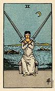 Two of Swords Tarot card in Smith Waite Centennial deck