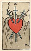 Three of Swords Tarot card in Smith Waite Centennial deck