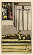Four of Swords Tarot card in Smith Waite Centennial deck