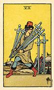 Seven of Swords Tarot card in Smith Waite Centennial deck