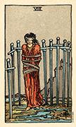 Eight of Swords Tarot card in Smith Waite Centennial deck